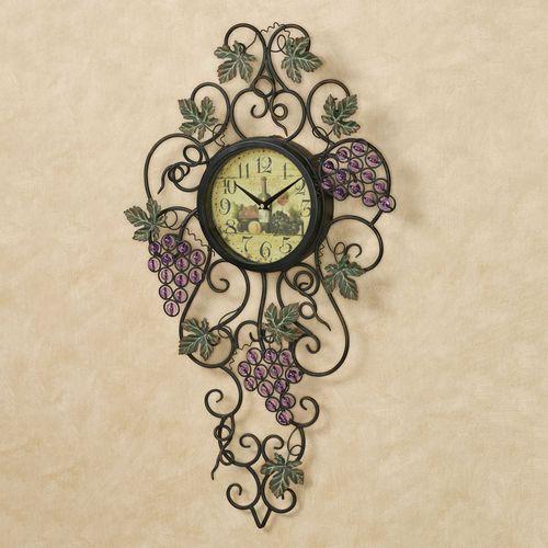 Vining Gems Grape Wall Clock Purple