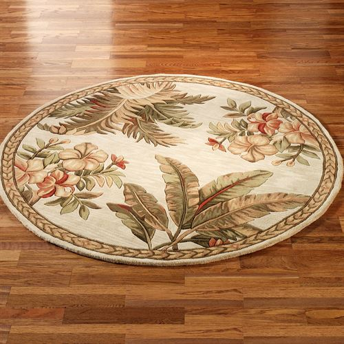Tropical Retreat Round Rug Ivory