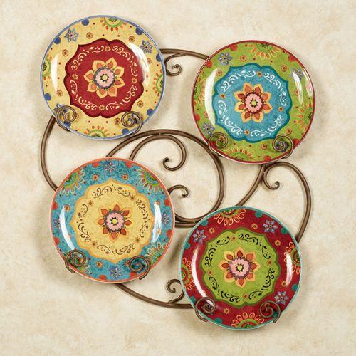 Tunisian Sunset Dinner Plates Multi Jewel Set of Four