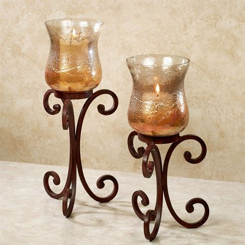 Umbria Hurricane Candleholders Rustic Brown Set of Two