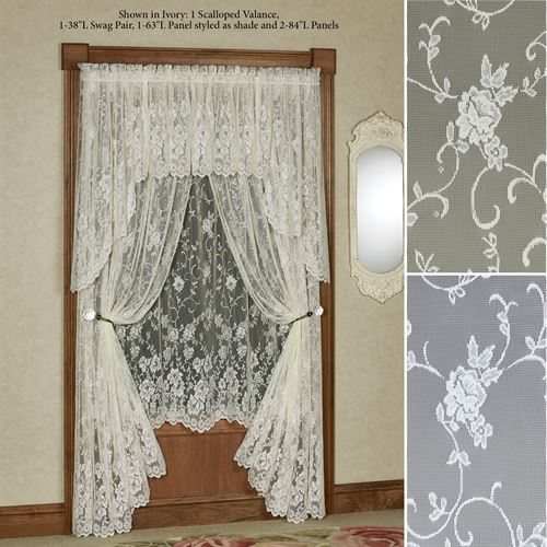 Enchanting Roses Lace Curtain Panel