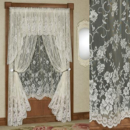Enchanting Roses Lace Curtain Panel