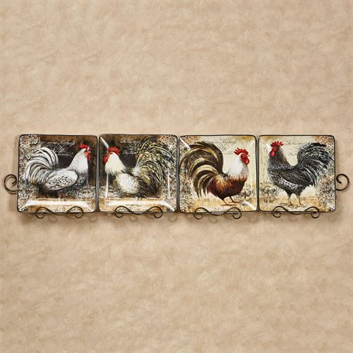 Vintage Rooster Dinner Plates Multi Earth Set of Four