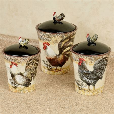 Vintage Rooster Kitchen Canisters Multi Earth Set of Three