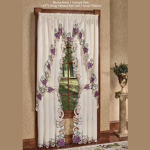 Cabernet Tailored Curtain Pair Light Cream 84 x 84