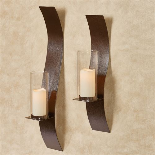 Sinuous Wall Sconces Antique Copper Set of Two