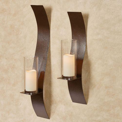 Sinuous Wall Sconces Antique Copper Set of Two