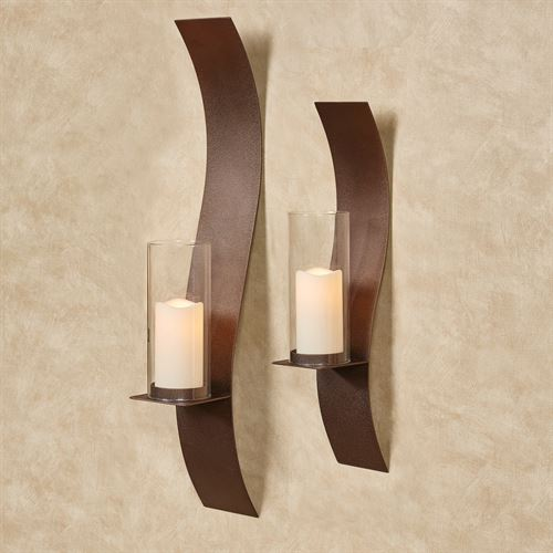 Sinuous Wall Sconces Rich Bronze Set of Two