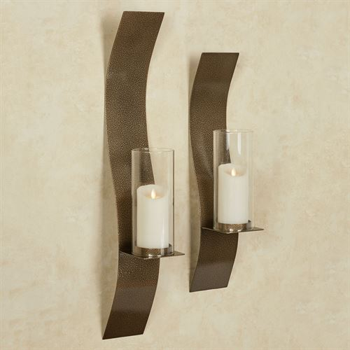 Sinuous Wall Sconces Antique Gold Set of Two