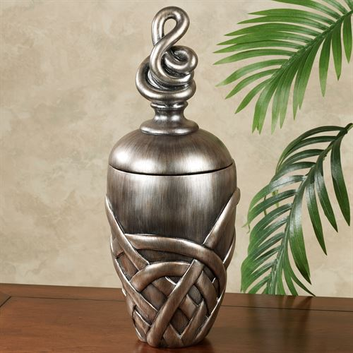 Modentia Covered Jar Burnished Silver