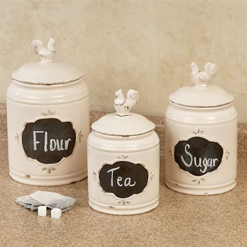 Antique Rooster Chalkboard Kitchen Canister Set