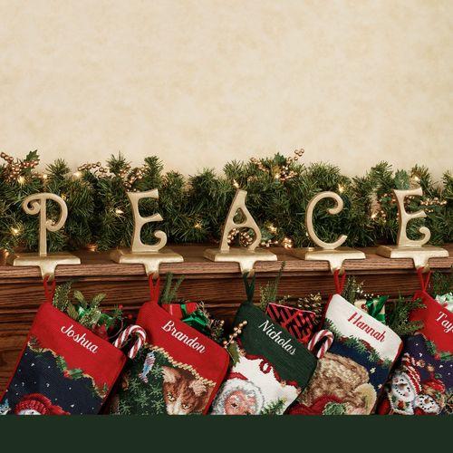 Christmas Stocking Holder.Peace Seasonal Christmas Stocking Holder Set
