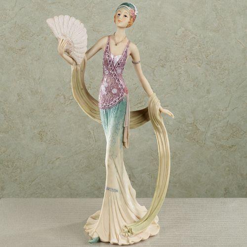 Elegant Soiree Lady Figurine Aqua and Lilac