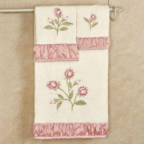 Blush Rose Bath Towel Set Light Cream Bath Hand Fingertip