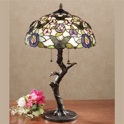 Take Flight Stained Glass Table Lamp Multi Pastel Each with LED Bulbs