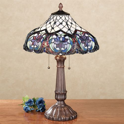 Lahela Stained Glass Lamp with CFL Bulbs Purple Each with CFL Bulb