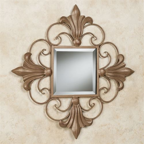 Armida Fleur Mirrored Wall Art Satin Gold