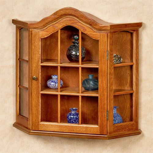 Andre Wall Curio Cabinet Honey Oak