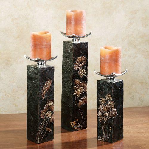 Deep Woods Candleholder Set Black Set of Three