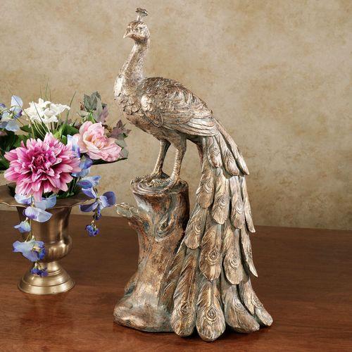 Peacock Sculpture Antique Gold