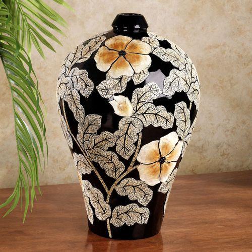 Blooming Flowers Table Vase Black