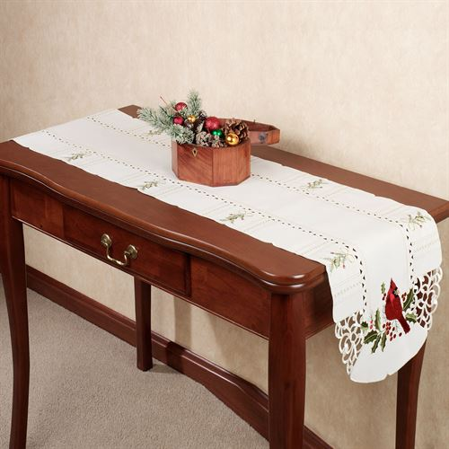 Cardinal and Holly Long Table Runner Ivory 13 x 65