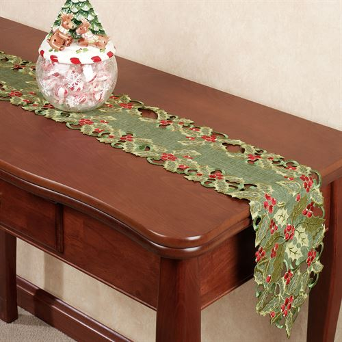 Holly Berry Long Table Runner Green 9 x 60