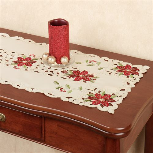 Poinsettia Table Runner Cream 16 x 36
