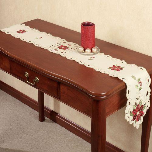 Poinsettia Long Table Runner Cream 9 x 60