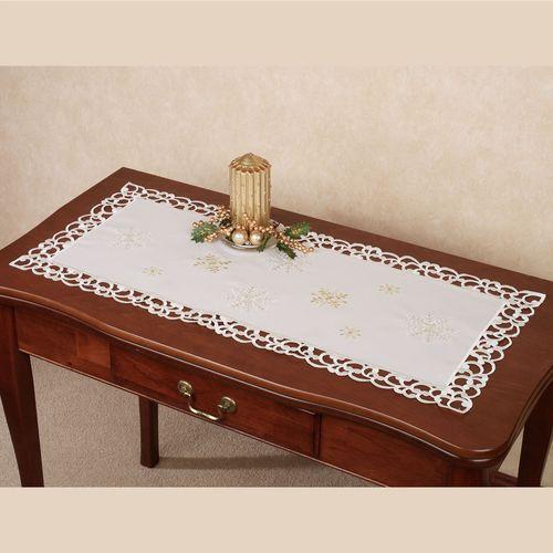 Sweet Snowflake Table Runner Ivory 16 x 36