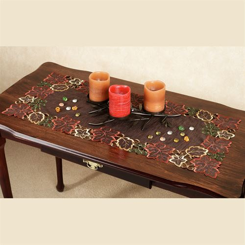 Autumn Leaves Table Runner Chocolate 16 x 36