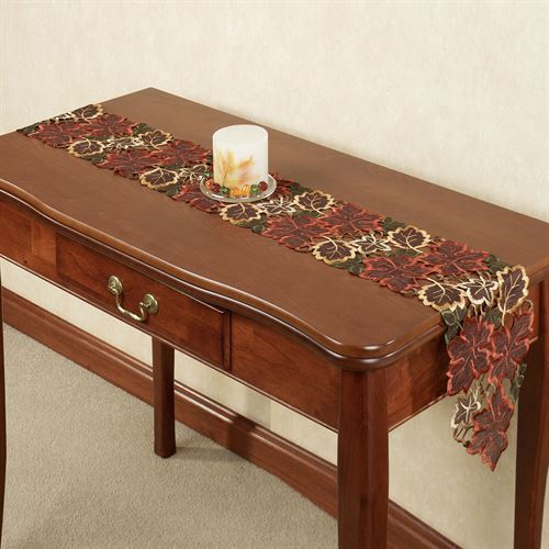 Autumn Leaves Long Table Runner Chocolate 8 x 60