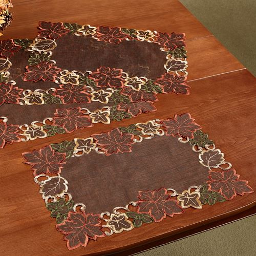 Autumn Leaves Placemat Set Chocolate Set of Four