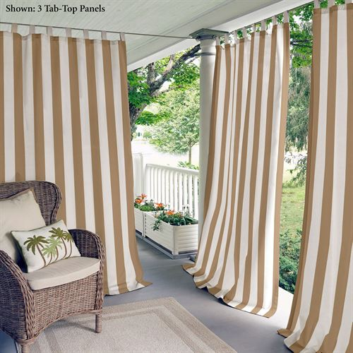 Highland Stripe Tab Top Curtain Panel Light Brown