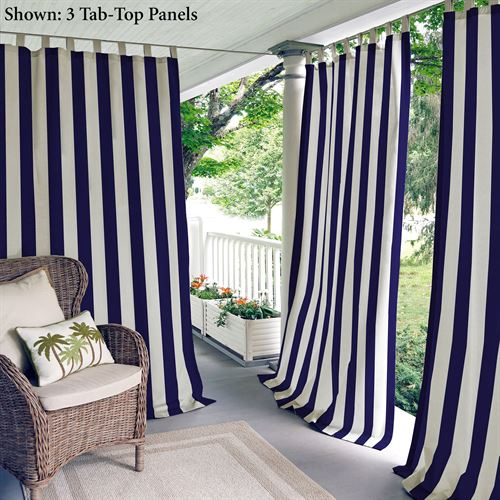 Highland Stripe Tab Top Curtain Panel Navy