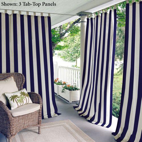 Highland Stripe Tab Top Curtain Panel Navy