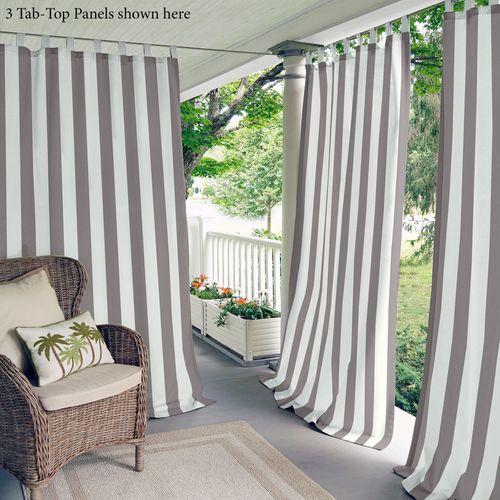 Highland Stripe Tab Top Curtain Panel Dark Gray