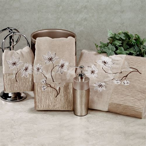 Magnolia Floral Bath Towel Set Bronze Bath Hand Fingertip