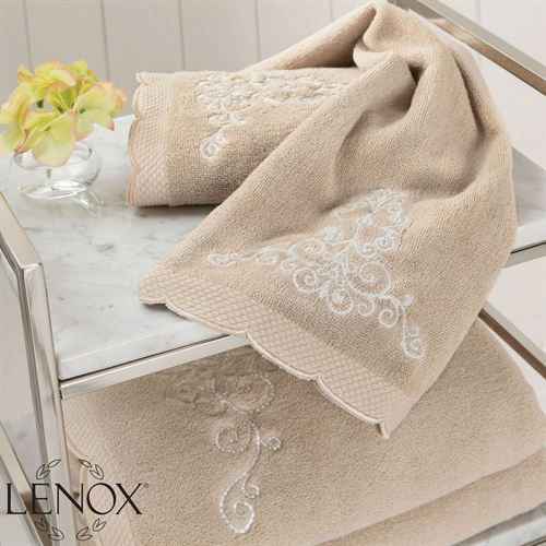 French Perle Bath Towel Set Beige Hand Fingertip