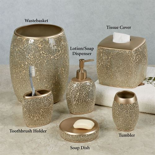 Huntington champagne mosaic bath accessories - Bathroom soap and lotion dispenser set ...
