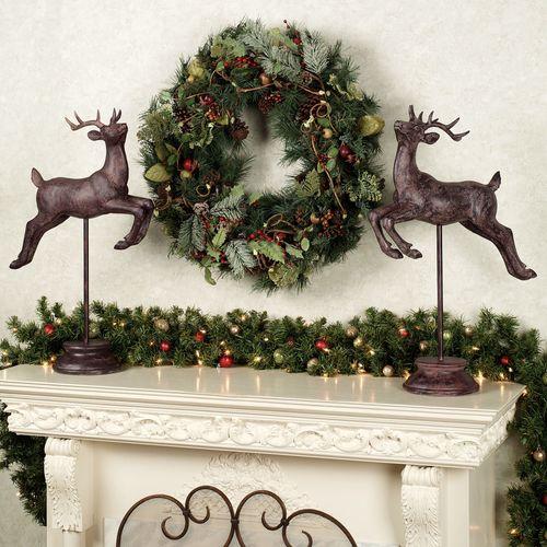 Reindeer in Flight Sculpture Set Brown Set of Two