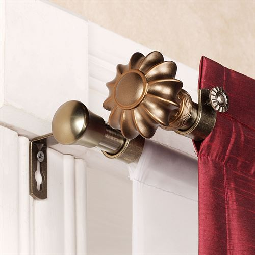 Flair Antique Brass Double Curtain Rod Set