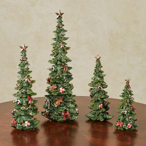 Christmas Tree Figurine Set Green Set of Four