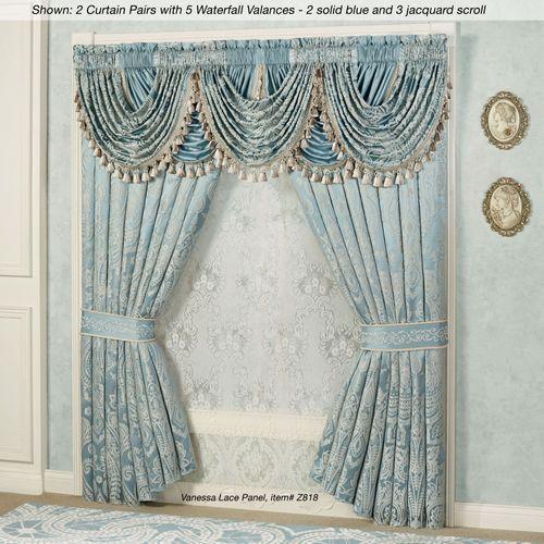 Regency Tailored Curtain Pair Parisian Blue