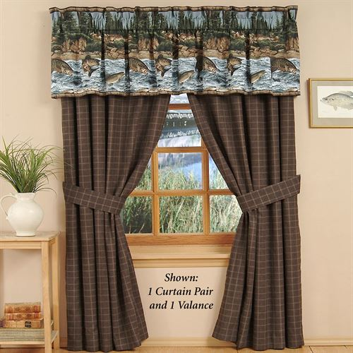 River Fishing Tailored Curtain Pair Chocolate 84 x 84