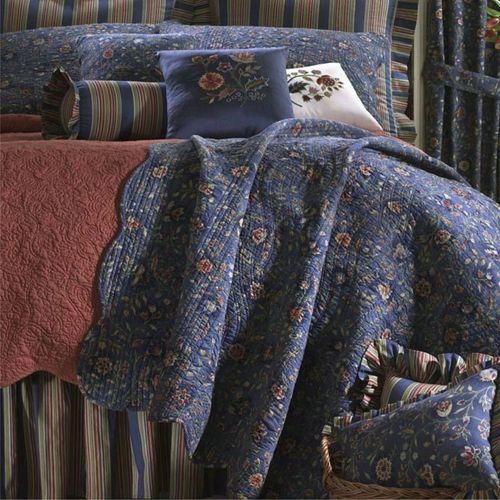 Wakefield Gathered Bedskirt Dark Blue