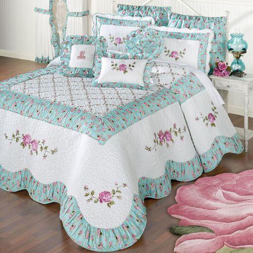 Rose Garden Grande Bedspread White