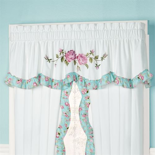 Rose Garden Ruffled Valance White 74 x 20