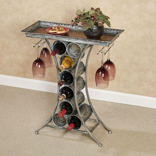 Vinum Wine Rack Table Antique Silver