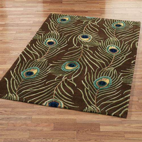 Peacock Feathers Rectangle Rug